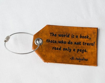 Travel Leather Luggage Tag, Custom Leather Tag, Personalized Luggage Tag, The World is a Book - Hand Carved Leather Luggage Tag