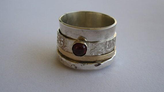 RUTKA Garnet crown stone combination ring