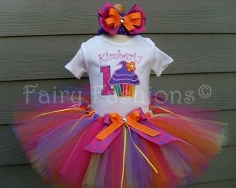 Custom Tutus...CUPCAKE PUNCH tutu set..size 3,6,9,12,18,24 months 2T,3T,4T,5T,6T years, costume...birthday tutu, princess, first birthday