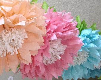 OOPSY DAISY. 5 Giant Hanging Paper Flowers, cake smash, baby shower, bridal shower decorations, birthday party, garden party, flower wall