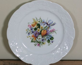 vintage lierre sauvage plate spring flowers shabby style made in france