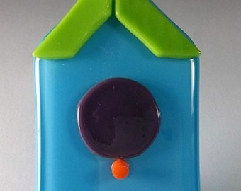 OOAK birdhouse suncatcher ornament aqua purple green