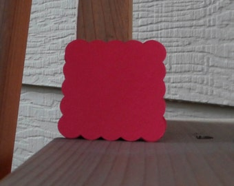 Re-entry Red Scalloped Square Tags (24)