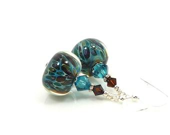 Teal Blue & Brown Earrings, Boro Glass Earrings, Lampwork Earrings, Glass Earrings, Glass Bead Earrings, Beadwork Earrings, Lampwork Jewelry