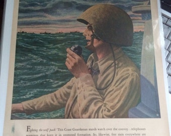 Western Electric WWII .Paul Rubut artist military ad 1943