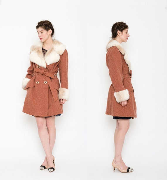 Boho 1970s Coat Faux Fur Collar 70s Almost By