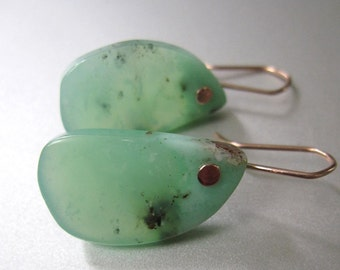 Chrysoprase Organic Drops Solid 14k Rose Gold Earrings