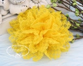 Bright Yellow - Dahlia Embossed Fabric Flower Millinery for Bridal Sashes, Fascinator, Hat Design, Hair Accessories, Mustard Flowers.