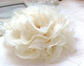"5"" / 4.5"" / 4"" inch IVORY Large Shabby Chic Frayed Chiffon Mesh and Lace Rose Fabric Flower."
