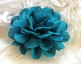 2pcs New Large Shabby Chic Frayed Wrinkled Cotton Voile and Tulle Rose Fabric Flower - Hunter Green / Dark Teal.
