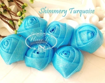 New to the Shop: Set of 6 - 1.5 inch PETITE Shimmery Glitter Rolled Rosettes Fabric flowers - TURQUOISE blue Rolled rose.
