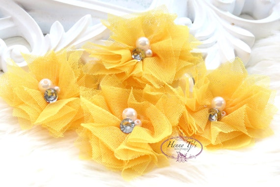 Elena TULLE : 4 pieces Bright YELLOW Small Tulle Mesh Flowers With rhinestone Pearl Center Poof Flowers Hair accessories