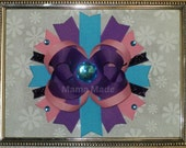Pink, Turquoise and Purple Boutique Bow with rhinestone purple and blue bow baby hairbow toddler hairbow big girl hairbow pink and purple