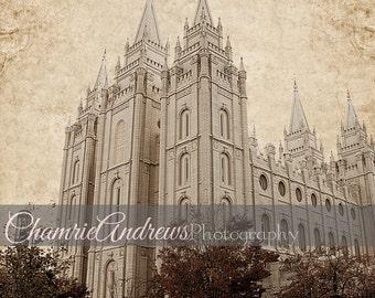 Salt Lake LDS Temple-  Portrait Style- Sepia - Instant DIGITAL DOWNLOAD - Large Temple Print