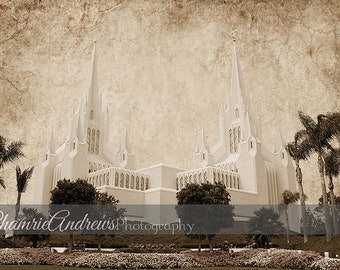 San Diego LDS Temple Landscape Antique - Instant DIGITAL DOWNLOAD - Large Temple Print