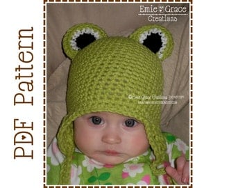 Crochet Frog Hat Pattern, Eyes Ear Flap, FROGGY - pdf 121