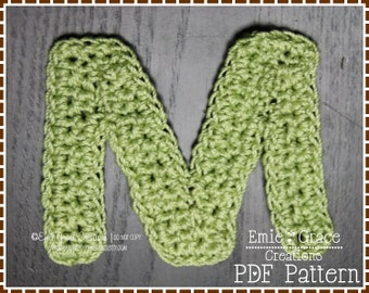 Crochet Monogram Pattern - Pick Any Single Letter - pdf