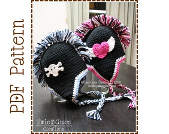 Mohawk Hat Crochet Pattern, 3 Applique Options, MADDOX - pdf 302
