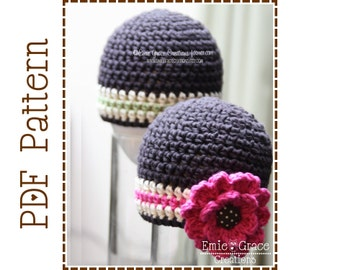 Flower Hat Crochet Pattern, 8 Sizes from Newborn to Adult, MADISON - pdf 305