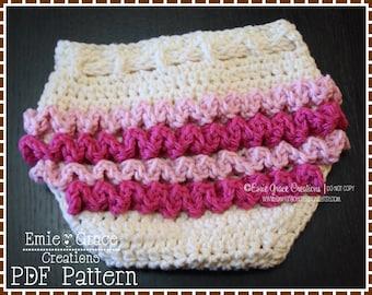 Diaper Cover Crochet Pattern, Ruffle Buns, LILY - pdf 709