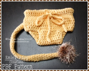 Crochet Lion Diaper Cover Pattern, Long Tail, LIL' LION HEART - pdf 716