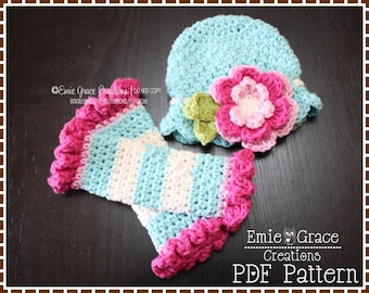 Flower Hat and Ruffle Leg Warmers Crochet Patterns, KENNEDY - pdf 220, 707
