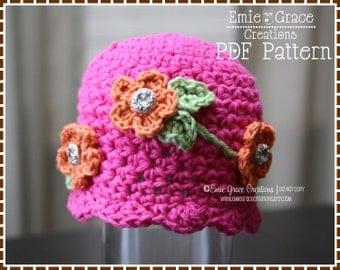 Flower Hat Crochet Pattern, Floral Vine Beanie, MIRIAM - pdf 212