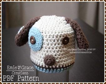 Puppy Hat Crochet Pattern, Dog Beanie, LOGAN and LOLA PUPPY - pdf 113