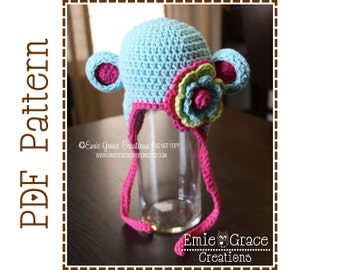 Monkey Hat Crochet Pattern, 8 Sizes from Newborn to Adult, AMELIA and GEORGE MONKEY - pdf 119