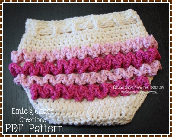 Free Crochet Pattern Diaper Cover With Ruffles : Diaper Cover Crochet Pattern Ruffle Buns LILY pdf 709