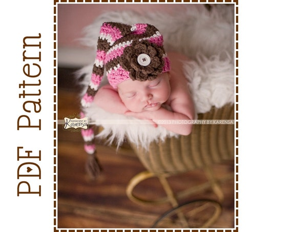 Stocking Cap Crochet Hat Pattern, 8 Sizes from Newborn to Adult, HADLEY - pdf 303