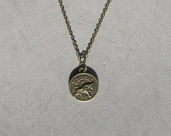 Antique Bronze Zodiac Taurus Pendant on Bronze Necklace