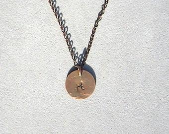 Antique Copper Initial H Necklace
