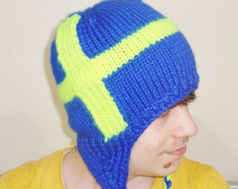 Hand Knit Sweden Flag Hat with earflap Men Women Hat in Blue Yellow Swedish Gift for Him, Her, Womens Mens Gift