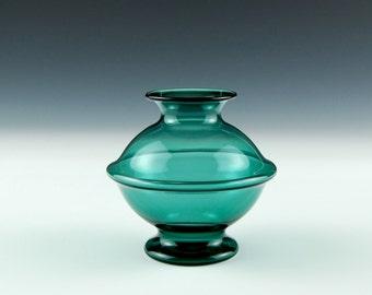 Hand Blown Glass Vase, Teal Bud Vase
