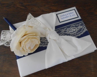 Custom Wedding Guest Book and Guest Book Pen SET You customize colors and personalized tag free Navy Blue and Ivory Lace