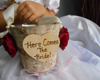 Birch Bark Flower Girl Basket Bucket Rustic Wedding Here Comes the Bride Customize and Personalize your colors chalkboard or wood tag