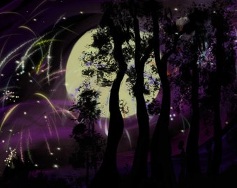 Digital art download full moon forest graphic abstract computer art print
