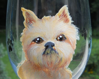 Brussels Griffon Wine Glass ~ Fathers Day Gift ~ Griffon Wine Glass ~ Dog Wine Glass ~ June Birthday ~ Griffon Owner Gift