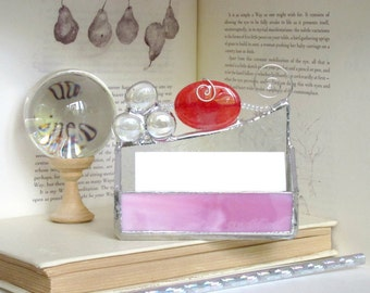 Business Card Holder Hot Pink Agate Bead Stained Glass Geode Handmade OOAK 247