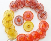 Lampwork Glass Disc Beads, FREE SHIPPING, Handmade Red, Yellow, Orange Shades, Spiral Glass Beads - Rachelcartglass