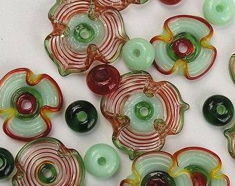 Green and Red Lampwork Glass Flower Beads, FREE SHIPPING, Handmade Glass Disc Beads - Rachelcartglass