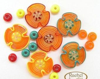 Lampwork Flowers Glass Beads, FREE SHIPPING, Handmade Yellow, Orange, Red, Teal Lampwork Glass Beads and Spacers, Rachelcartglass