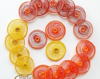 Lampwork Glass Disc Beads, FREE SHIPPING, Handmade Red, Yellow, Orange Shades, Spiral Glass Beads - Rachelcartglass