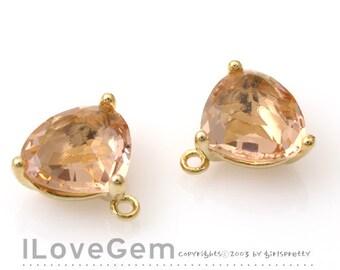 NP-993 Gold Plated, Trilliant Cut, Peach, Champagne, Glass pendant, 2pcs