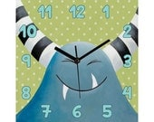 Blue monster, Wall clock, Children's clock, Nursery clock, Girls bedroom decor, Kids bedroom decor, Nursery wall clock, Kids clock
