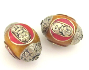 2 beads -Tibetan honey copal resin capped beads with tibetan dorje vajra symbol and coral inlay- BD398