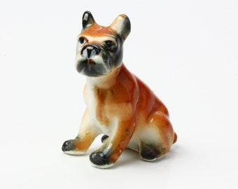 Sitting Boxer Dog Figurine - 1960s Bone China Miniature Collectible