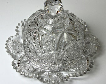 Stunning Cut Glass Covered Butter Dish - American Brilliant Period