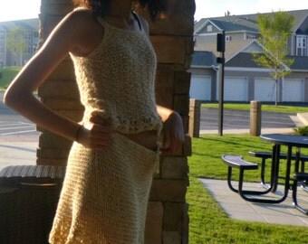 Crochet Two Piece Set Light Brown Skirt and Shell
